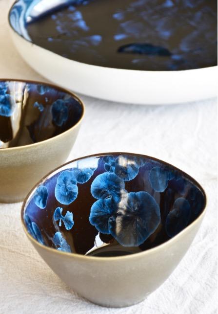 Sol Ceramics, ANDROMEDA. macrocrystal blue.